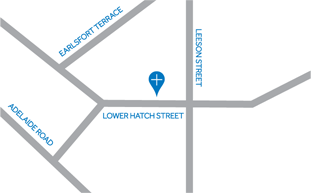 Location Map - Reid Healthcare is located on Lower Hatch Street, Dublin 2